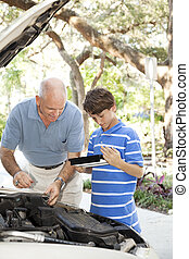 réparation auto, copyspace, père, fils