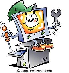 réparation, informatique, mascotte