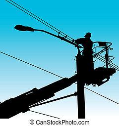 réparations, illustration., puissance, pole., électricien, vecteur, confection