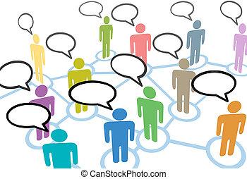 réseau, gens, communication, connexions, parole, social, parler