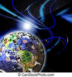 réseau global, gens, mondial