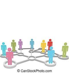 réseau, professionnels, divers, relier, social, ou