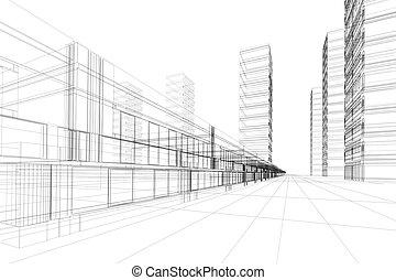 résumé, architecture, 3d