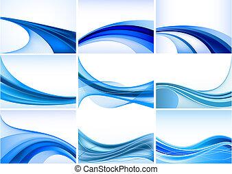 résumé, arrière-plan bleu, ensemble, vecteur