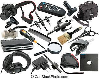 résumé, ensemble, noir, objets