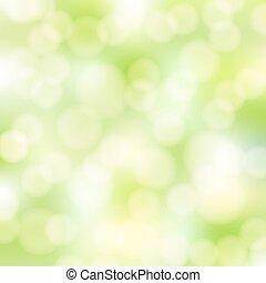 résumé, vert, bokeh, fond