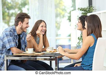 réunion, amis, groupe, maison