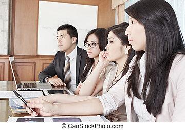 réunion, business, écoute, gens