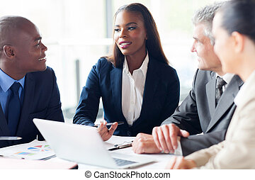 réunion, groupe, businesspeople, avoir