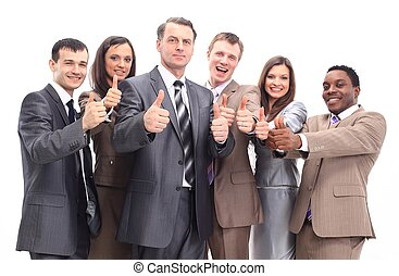 réussi, équipe, haut, business, pouces
