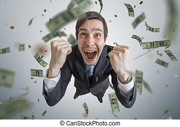 réussi, gagner, argent., jeune, lot, homme affaires