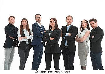 réussi, haut, bras, équipe, business