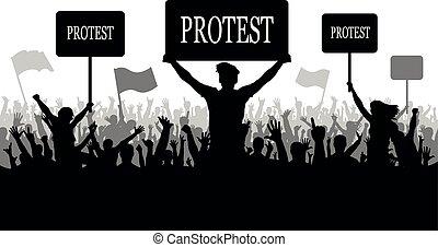 révolution, silhouette, foule, conflit, gens, protesters., protestation