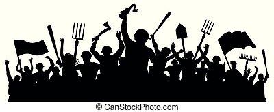 révolution, silhouette, foule, fâché, protestation, vecteur, masse, riots., gens.