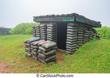 raid, protection, guerre, soldats, structures, bombe, ou, abris, air