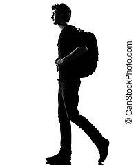 randonneur, marche, silhouette, jeune homme