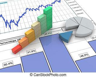 rapport, barre, 3d, financier, progrès