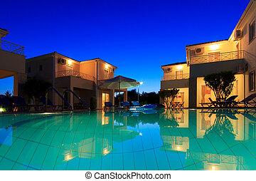 recours, grec, villa, extérieur, luxueux