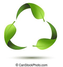recyclez symbole, feuille