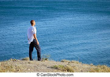regarde, jeune, mer, homme