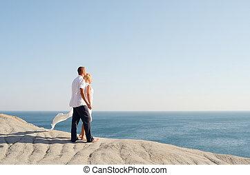regarder, couple, amour, mer