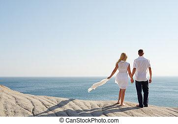 regarder, couple, mer, aimer