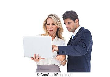 regarder, gens, ordinateur portable, business