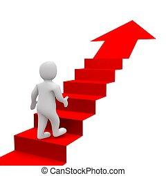 rendu, illustration., escaliers., homme, rouges, 3d