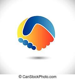 représenter, concept, gens, shake., association, &, -, gestes, aussi, unité, nouveau, amitié, illustration affaires, main, amis, icône, graphique, ceci, salutation, confiance, etc, vecteur, boîte, ou