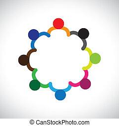 représenter, graphique, diversity., diversité, gosses, &, ceci, former, jouer, gens, enfants, aussi, concept, collaboration, boîte, tenant mains, contient, équipe, constitué, circle.