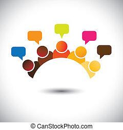 représenter, réunions, groupe, bureau, etc, ceci, graphic., illustration, collaboration, storming, vecteur, cerveau, boîte, membres, discussions, executives(employees), opinions-, airing, opinions, personnel