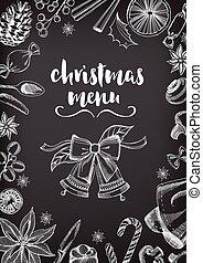 restaurant., nourriture, flyer., invitation, fête, noël