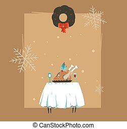 retro, espace, heureux, carte, turquie, copie, isolé, noël, vecteur, table, dessin animé, main, nouvel an, noël, temps, illustrations, vendange, dessiné, résumé, joyeux, fond, brun, dîner, salutation