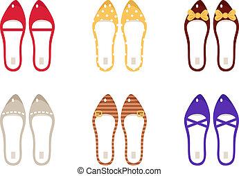 retro, isolé, vecteur, collection, chaussures, blanc