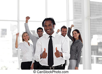 reussite, équipe, célébrer, business