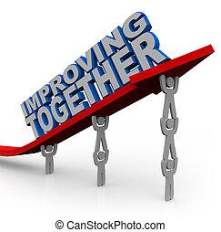 reussite, ensemble, ascenseurs, croissance, flèche, équipe, améliorer