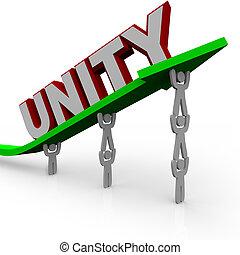 reussite, -, ensemble, unité, ascenseur, croissance, flèche, équipe, travaux