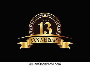 ribbon., brochure, ou, logo, gabarit, emblème, invitation, livret, célébration, prospectus, anniversaire, vecteur, conception, doré, affiche, magazine, toile, salutation, anniversaire