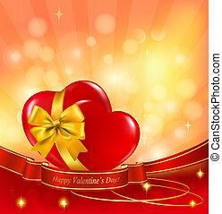 ribbon., illustration., deux, petite amie, arrière-plan., vecteur, cœurs, jour, rouges