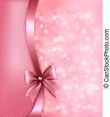 ribbon., papier, vieux, fond, vacances, cadeau, vecteur, arc, rose