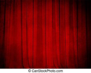 rideau, grunge, théâtre, arrière-plan rouge