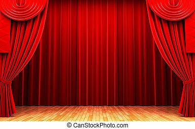 rideau, velours, scène, rouges, ouverture