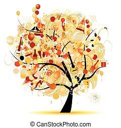 rigolote, arbre, symboles, vacances, célébration, heureux