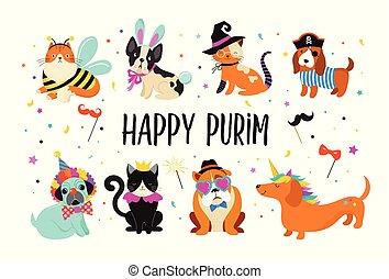 rigolote, carnaval, coloré, mignon, costumes, illustration, animaux, chiens, purim, vecteur, chats, bannière, pets., heureux