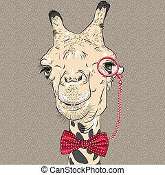 rigolote, chameau, vecteur, closeup, portrait, hipster