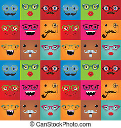 rigolote, monstre, seamless, hipster, fond, faces