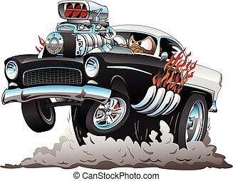 rigolote, style, fumer, voiture classique, flammes, tige, américain, illustration, chaud, vecteur, années cinquante, grand, moteur, wheelie, dessin animé, sauter, pneus