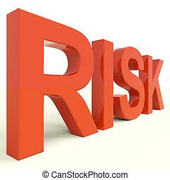 risque, péril, projection, incertitude, rouges, mot