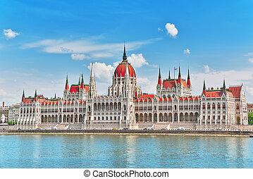 riverside., daytime., hongrie, vue, parlement, danube, budapest., hongrois