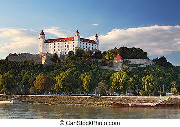 rivière, château, danube, reflet, bratislava